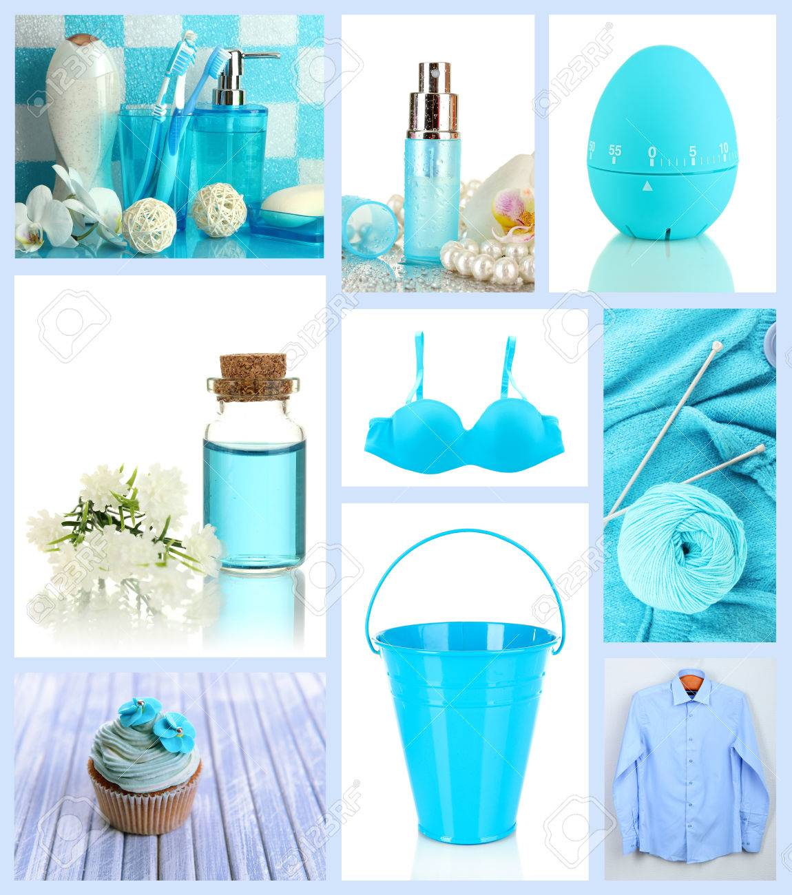 Collage of photos in blue colors Stock Photo - 26969877