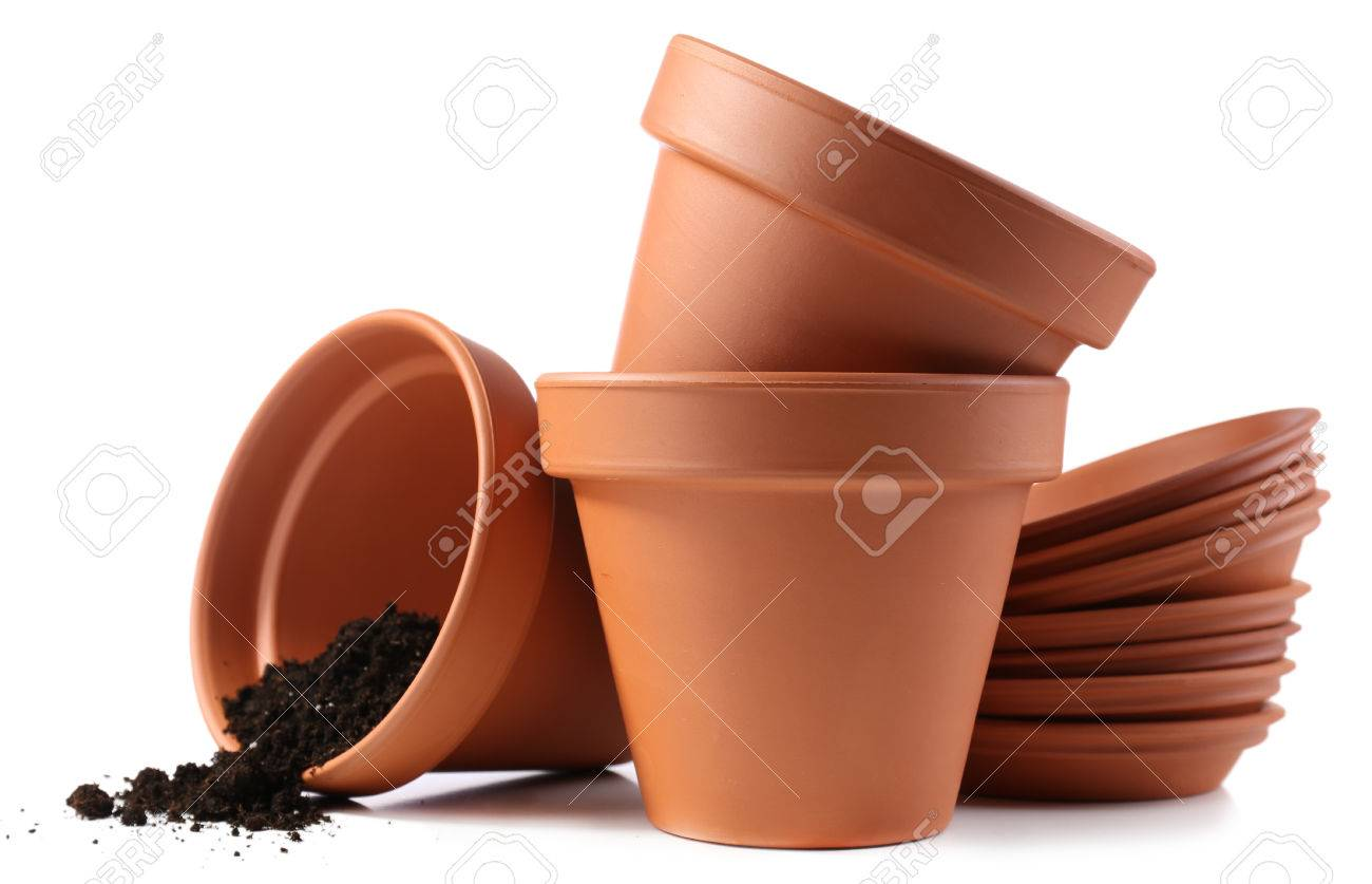 180 & Clay flower pots and soil isolated on white