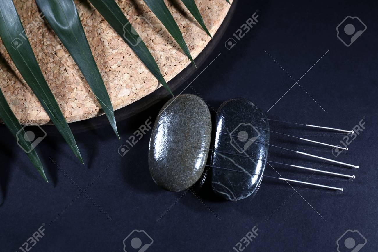 Composition with needles for acupuncture, close up. Stock Photo - 27164940