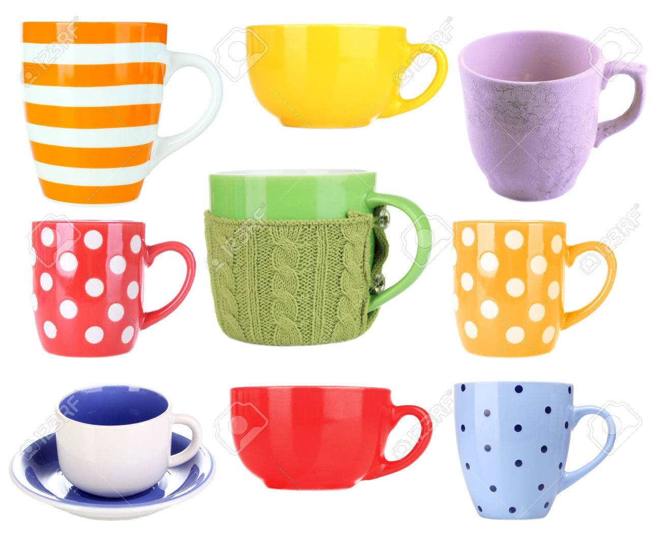 collage of colorful mugs isolated on white stock photo picture and