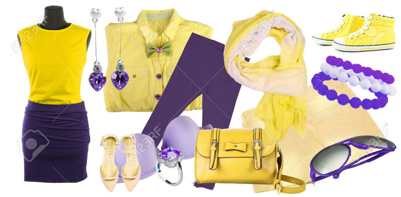 Collage Of Clothes In Yellow And Purple Colors Isolated On White ...