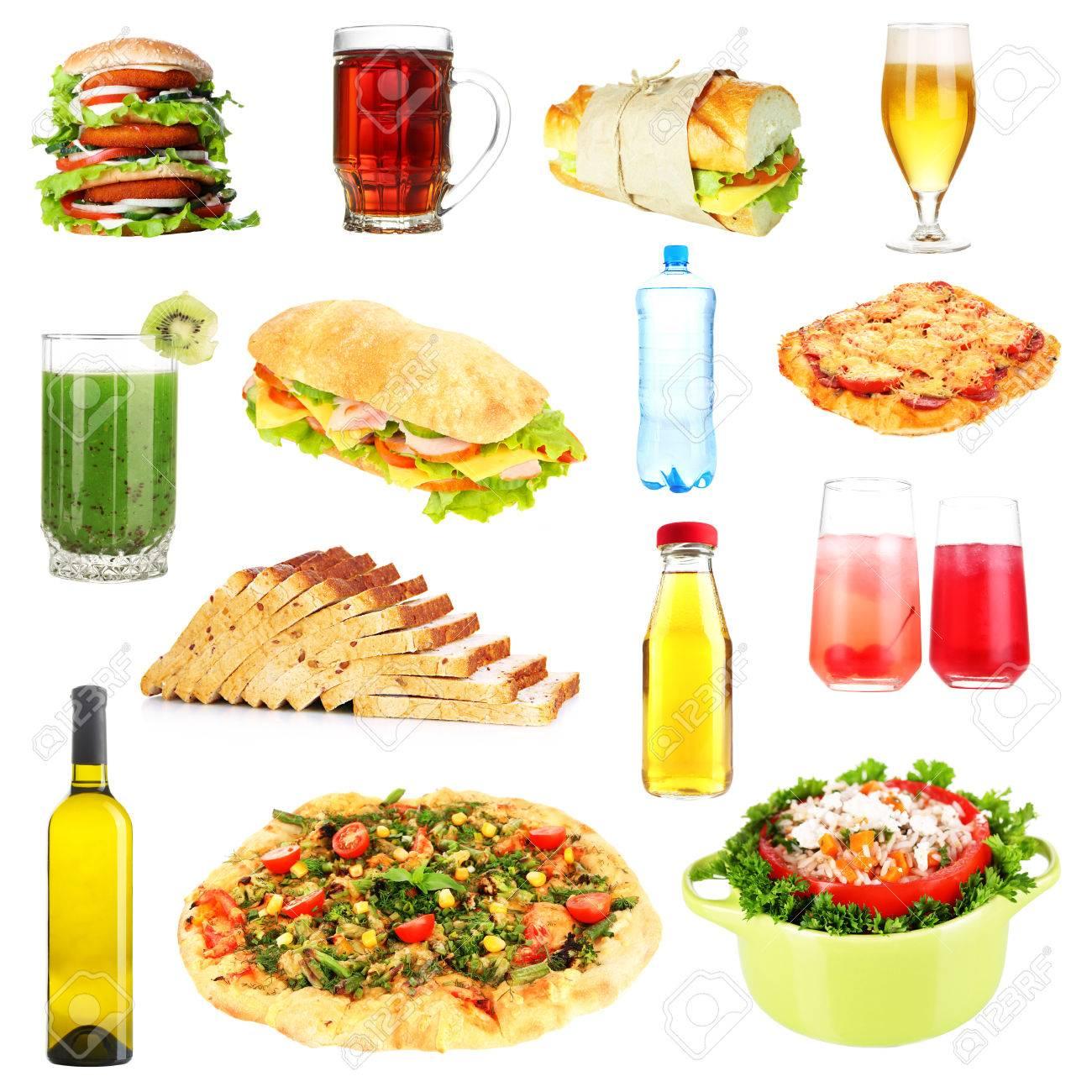 Eten En Drinken Collage Geïsoleerd Op Wit Royalty Vrije Foto
