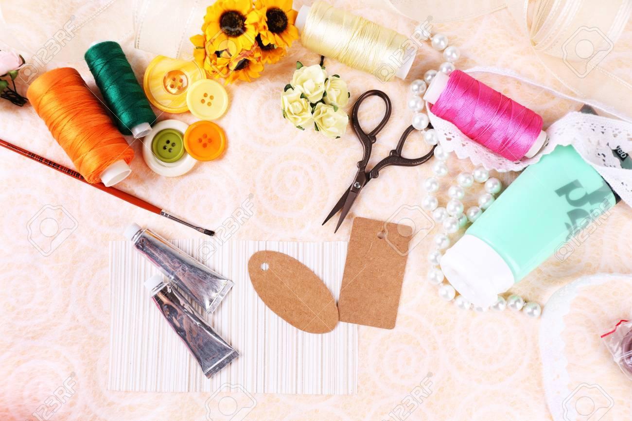 Scrapbooking Craft Materials On Light Background Stock Photo