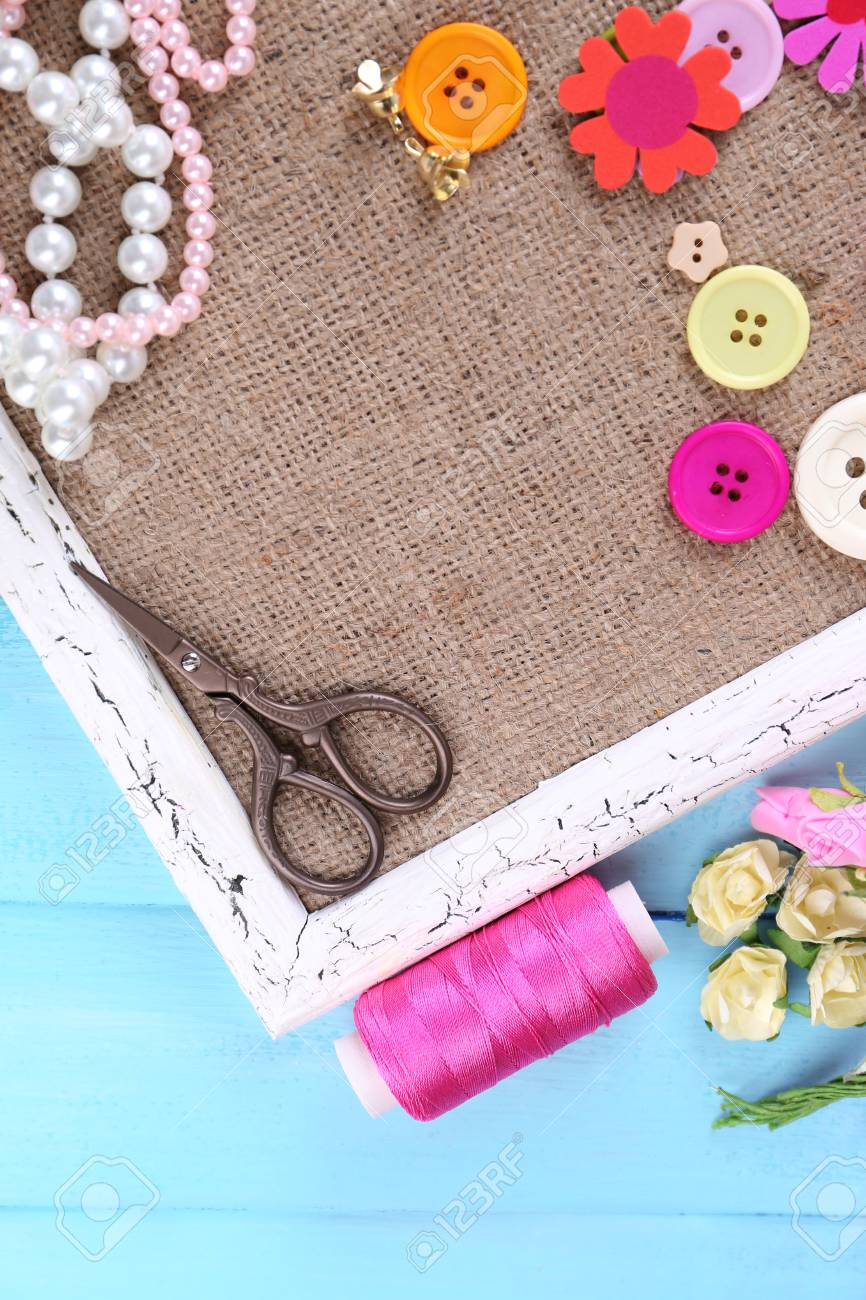 Scrapbooking Craft Materials And Wooden Frame With Sackcloth Stock