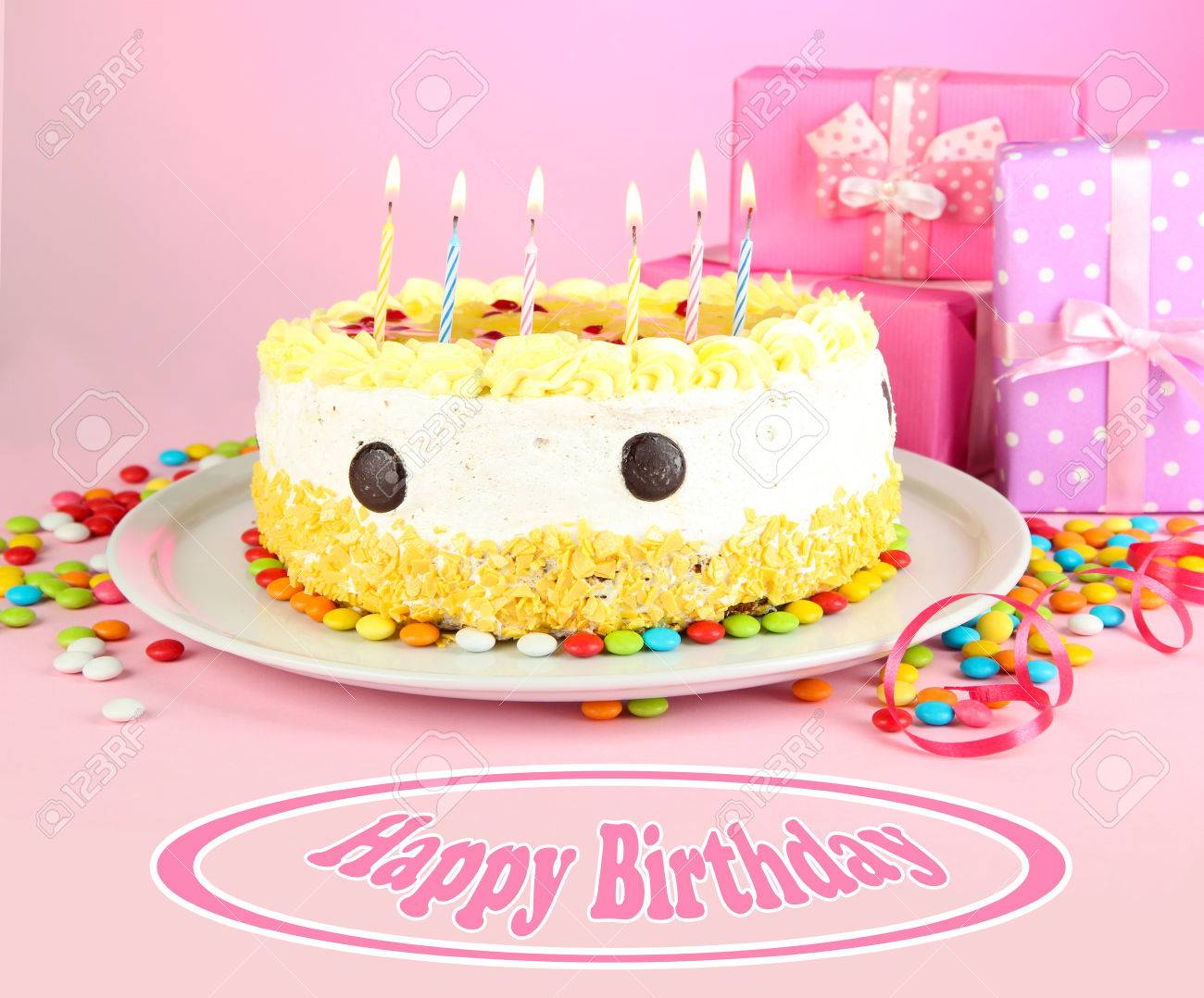Birthday PostcardHappy Cake And Gifts Stock Photo