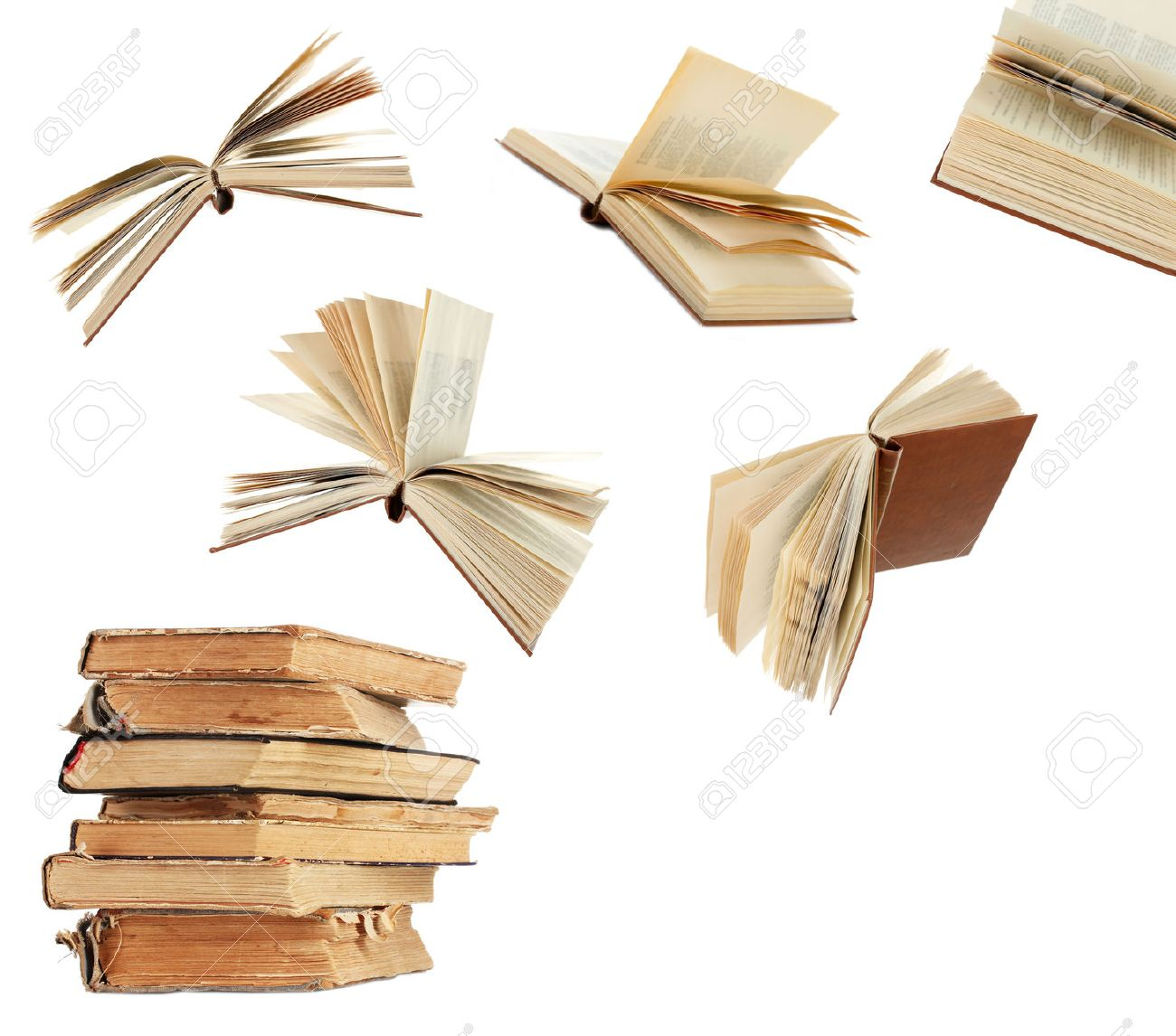 Flying Books Isolated On White Stock Photo, Picture And Royalty ...