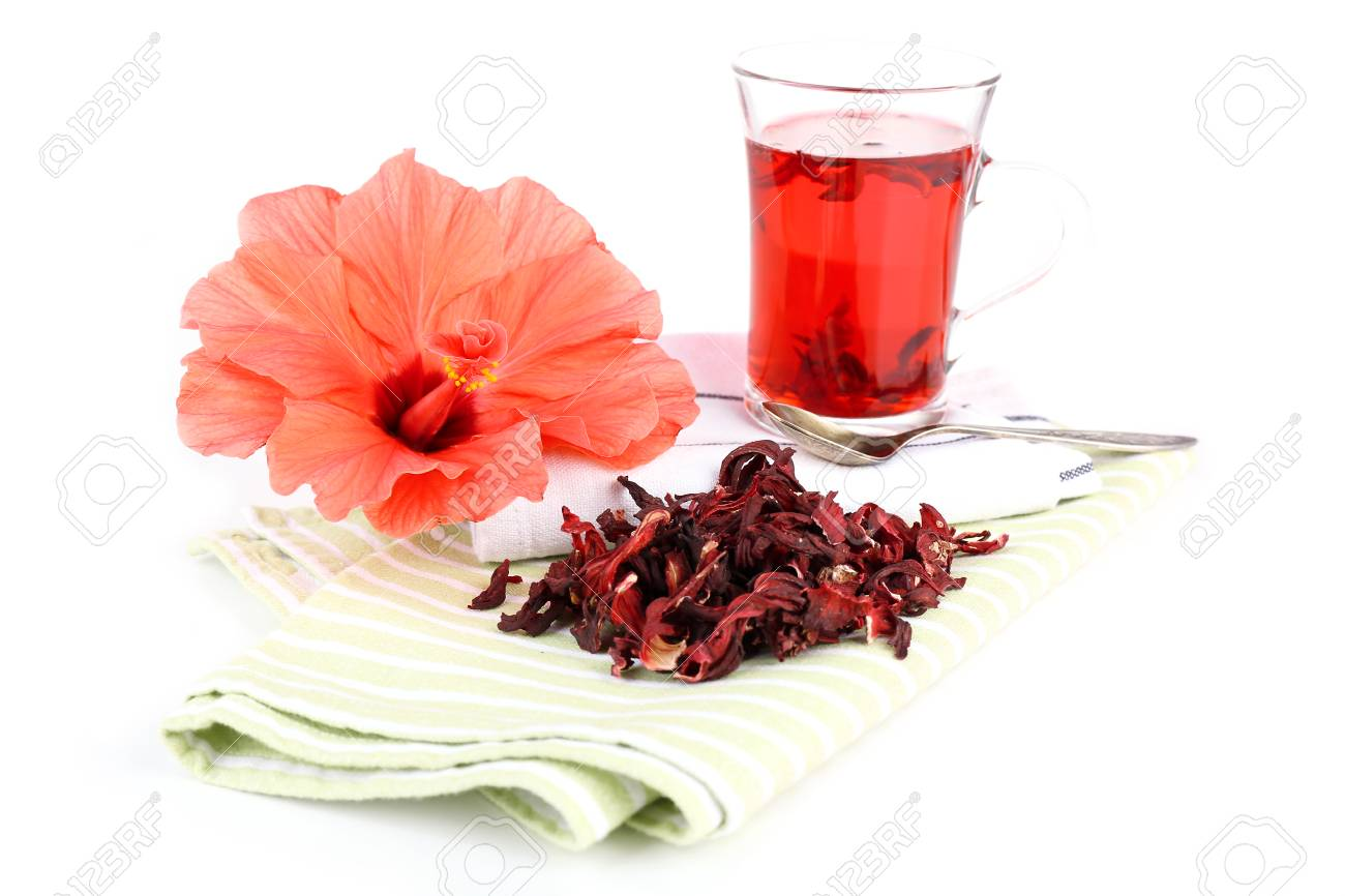 Hibiscus tea and flower on color napkin isolated on white stock hibiscus tea and flower on color napkin isolated on white stock photo 32311129 izmirmasajfo