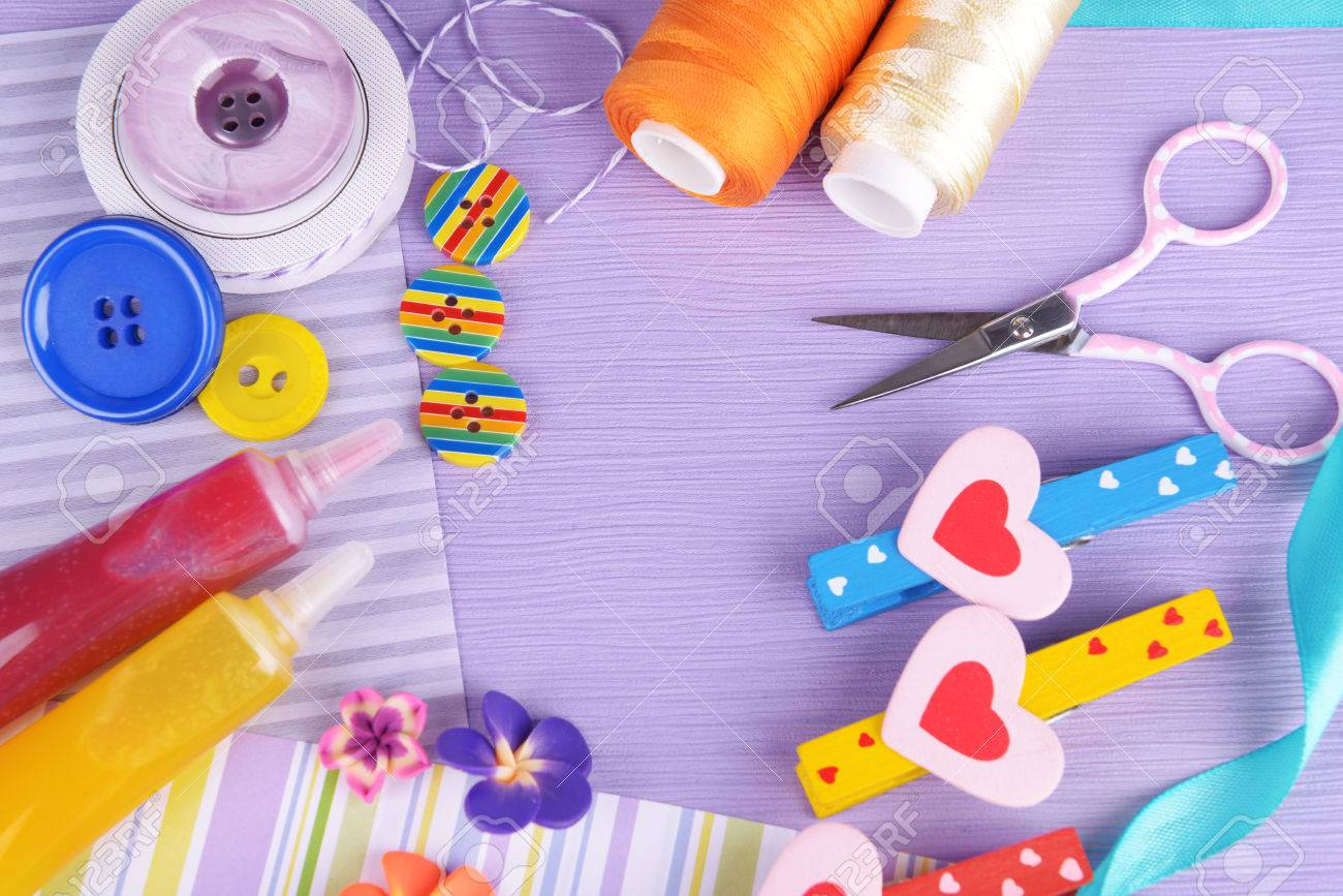 Scrapbooking Craft Materials On Bright Background Stock Photo