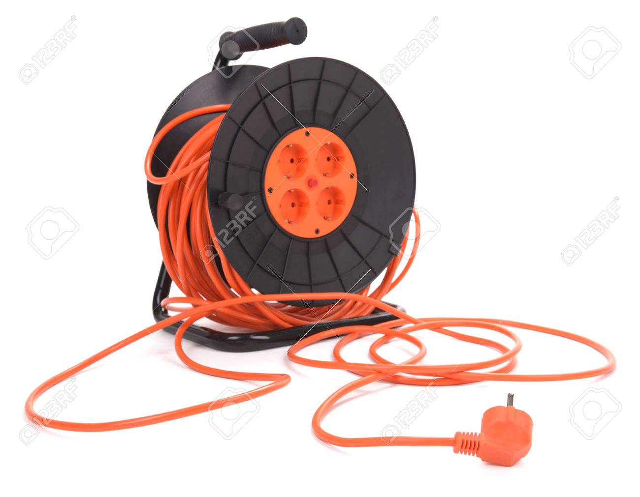 Extension Electric Cable Reel Isolated On White Background Stock Photo