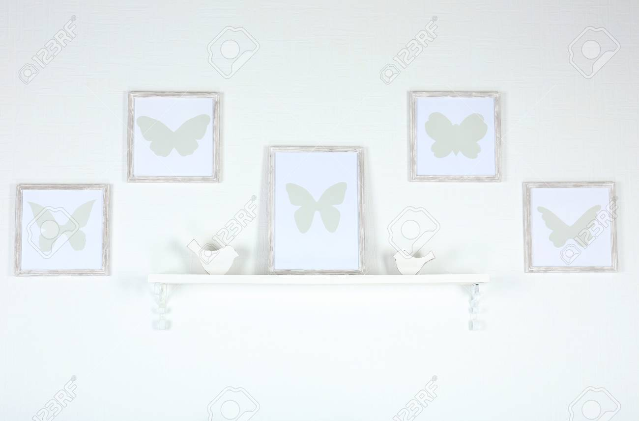 Different Objects On White Shelf In Living Room Stock Photo, Picture ...