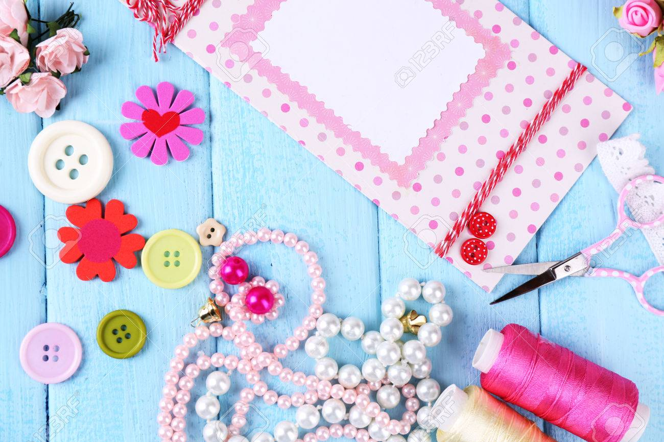 Scrap Booking Craft Materials On Color Wooden Stock Photo Picture