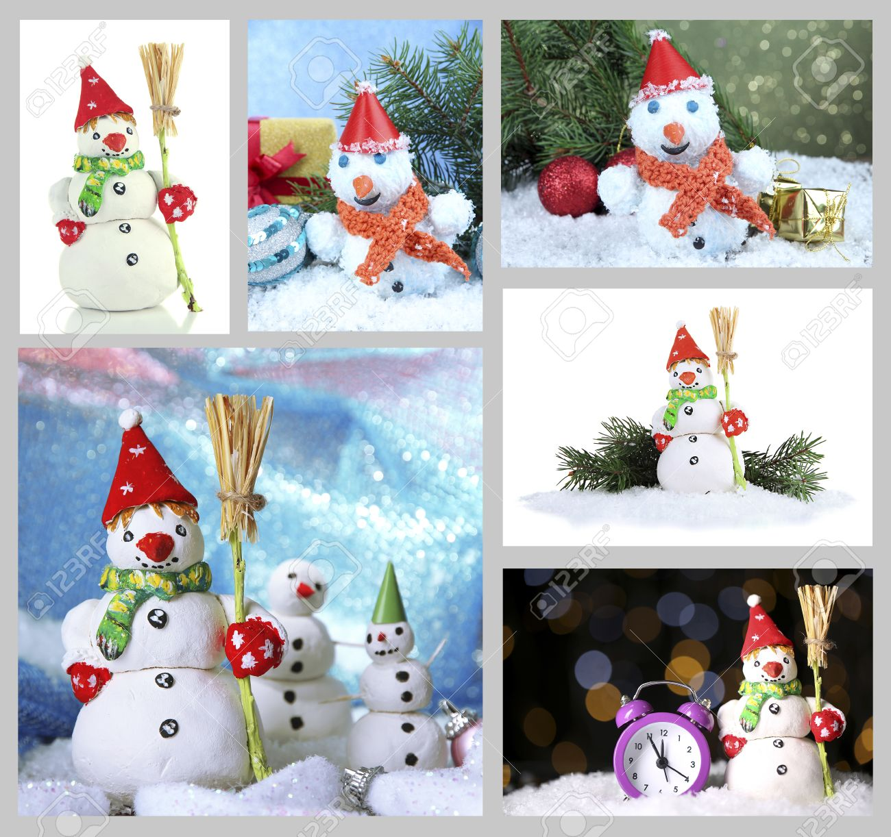 collage de hermosos muecos de nieve y decoracin de navidad foto de archivo