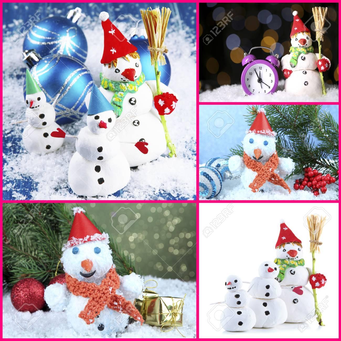 Collage Von Schönen Schneemänner Und Weihnachtsdekor Lizenzfreie ...