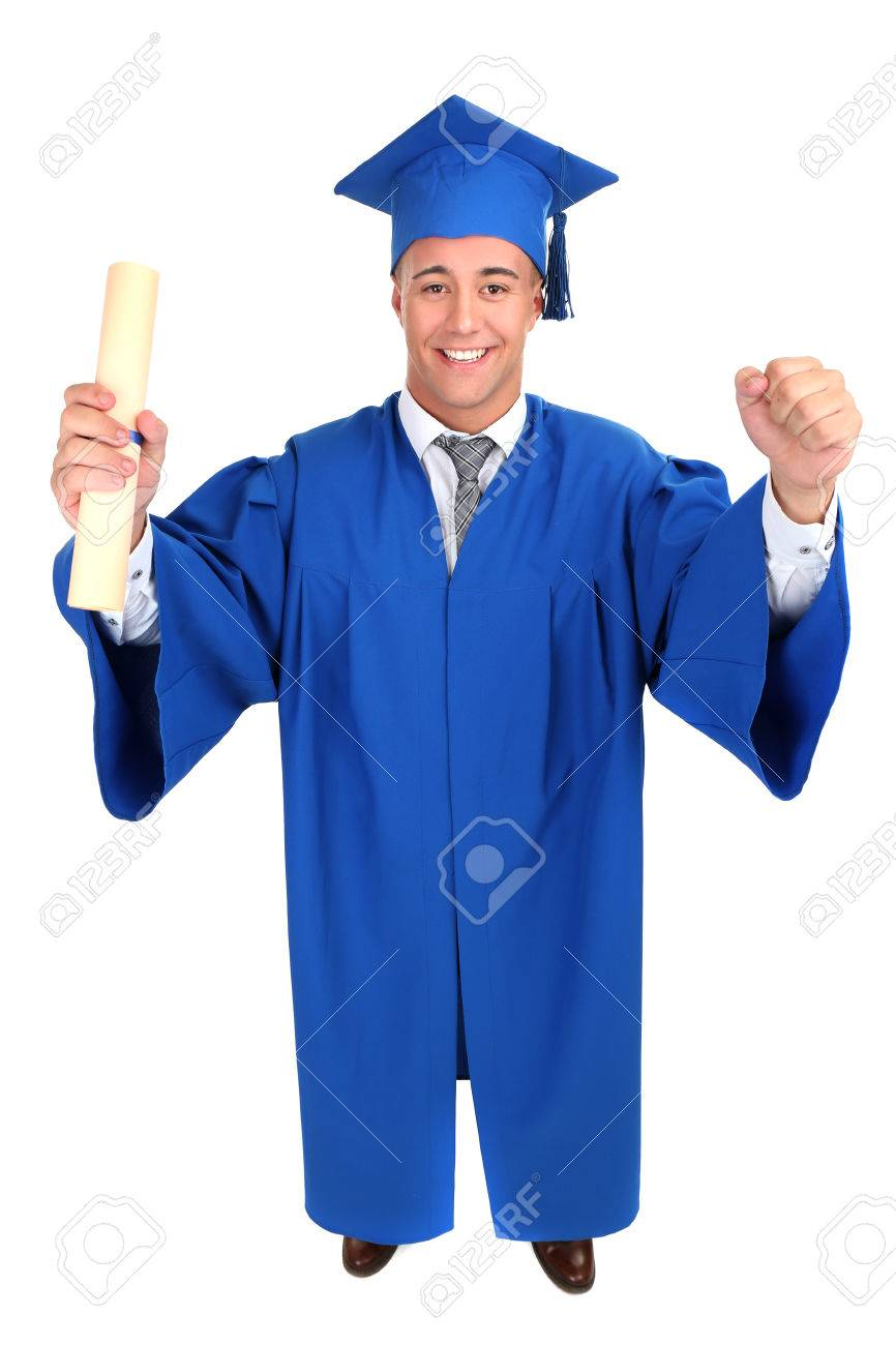 Man Graduate Student Wearing Graduation Hat And Gown, Isolated ...