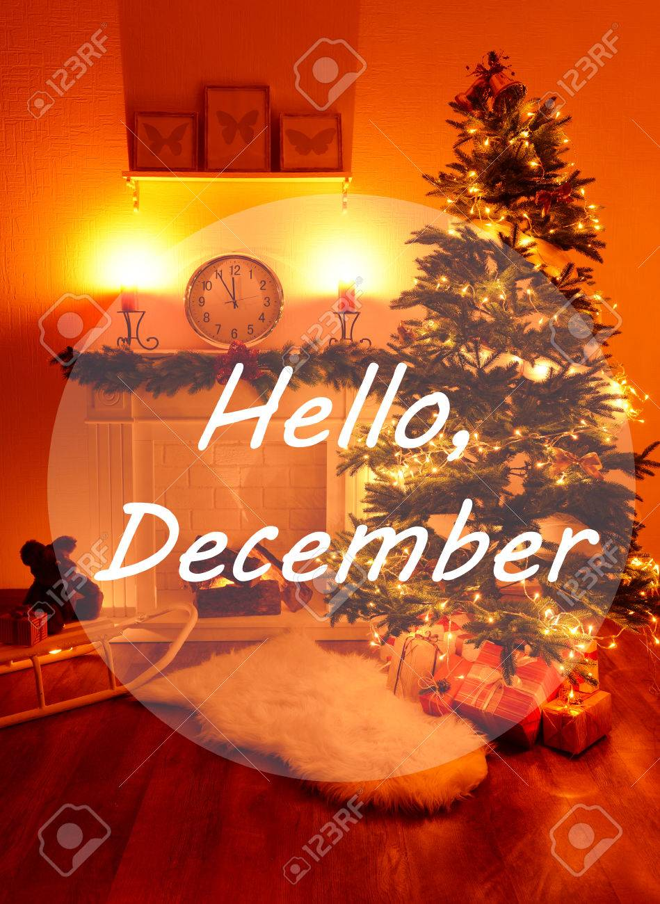 Hello December, Greeting Card Stock Photo   34291130