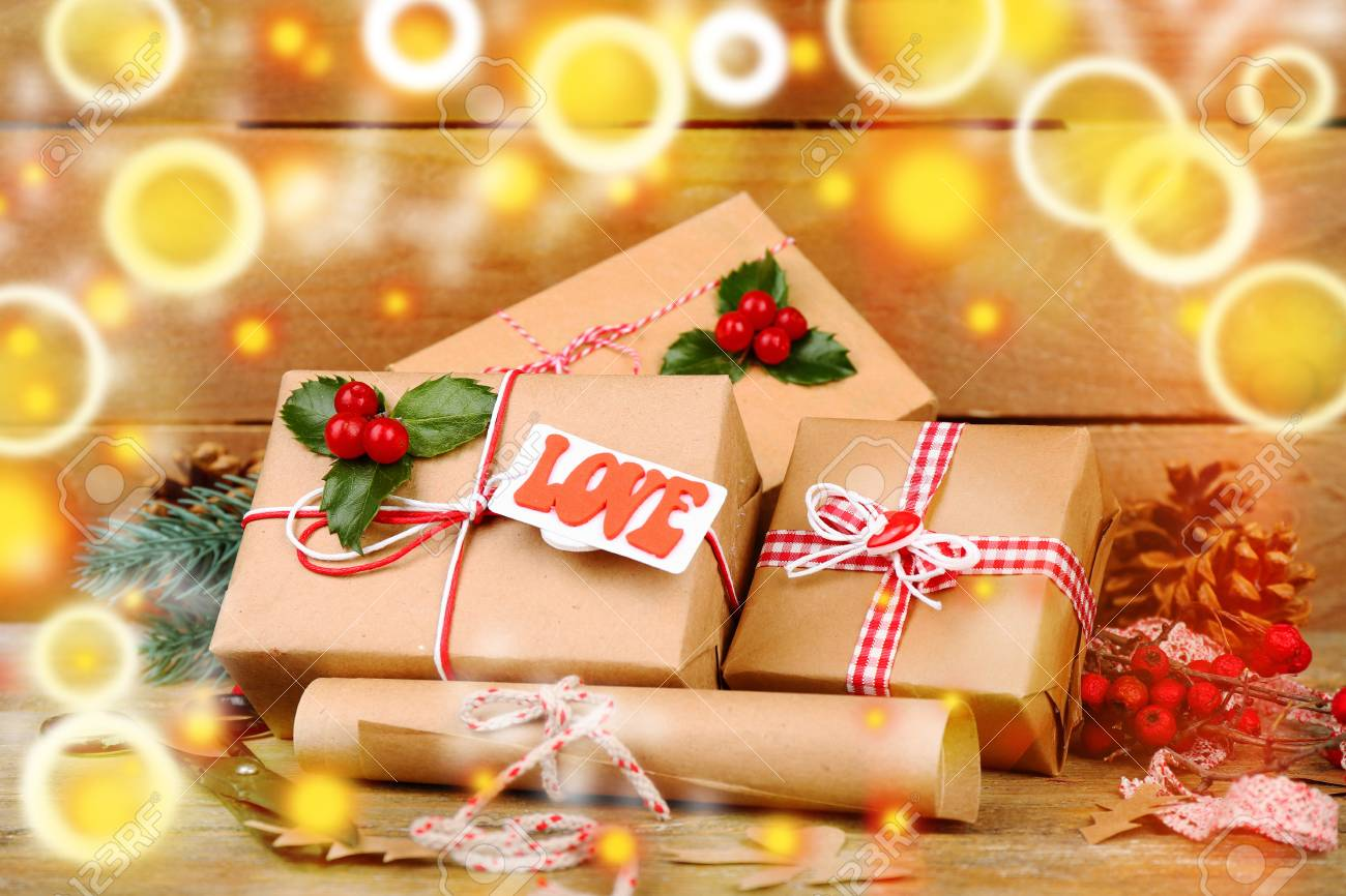 Beautiful Christmas Pictures.Beautiful Christmas Composition With Handmade Gifts On Wooden