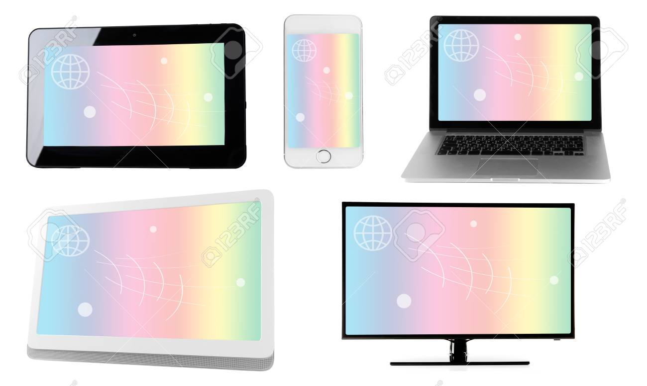 Monitors, laptop, tablet and phone with rainbow wallpaper on screens in collage isolated on