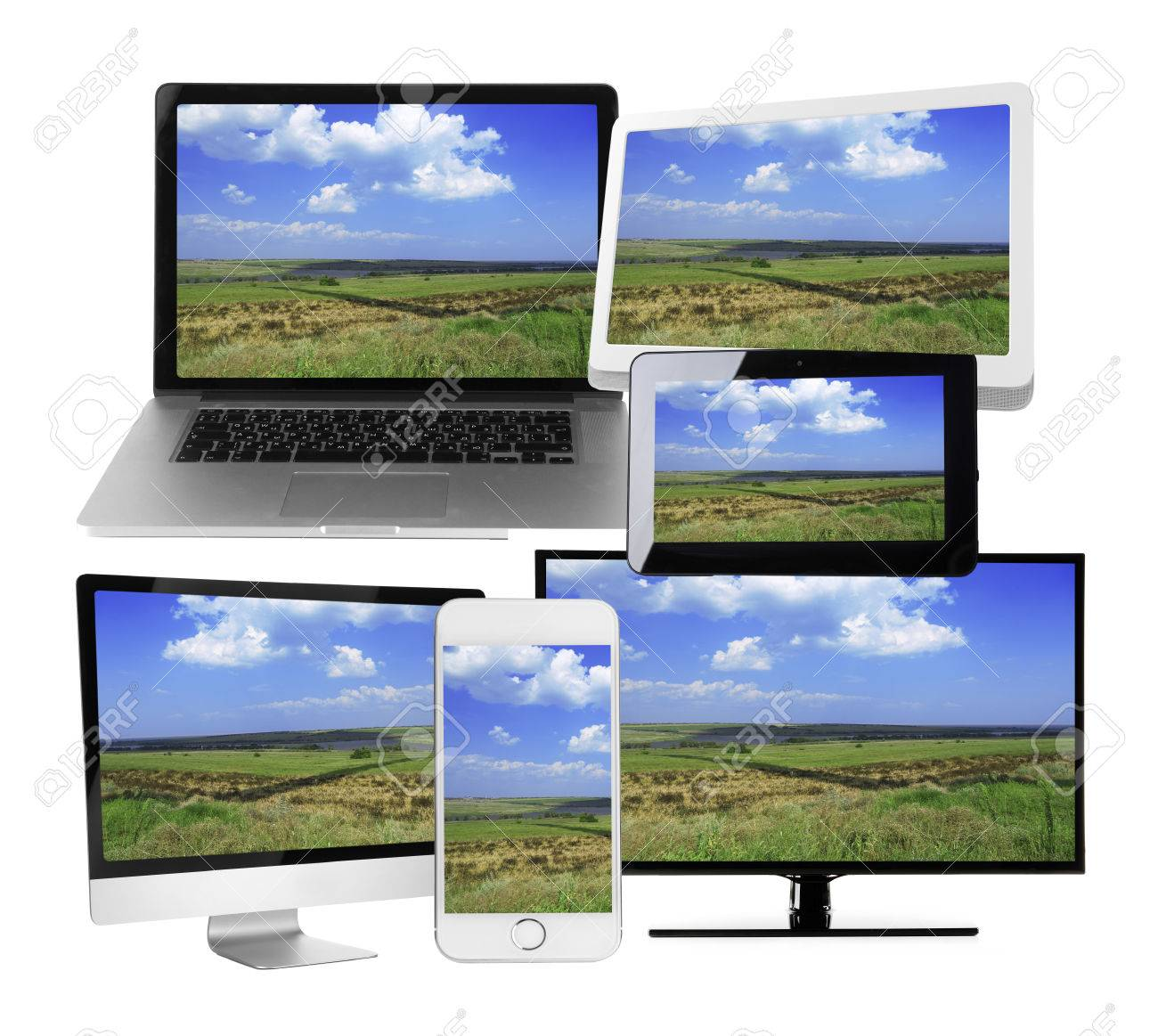 Monitors, laptop, tablet and phone with nature wallpaper on screens in collage isolated on