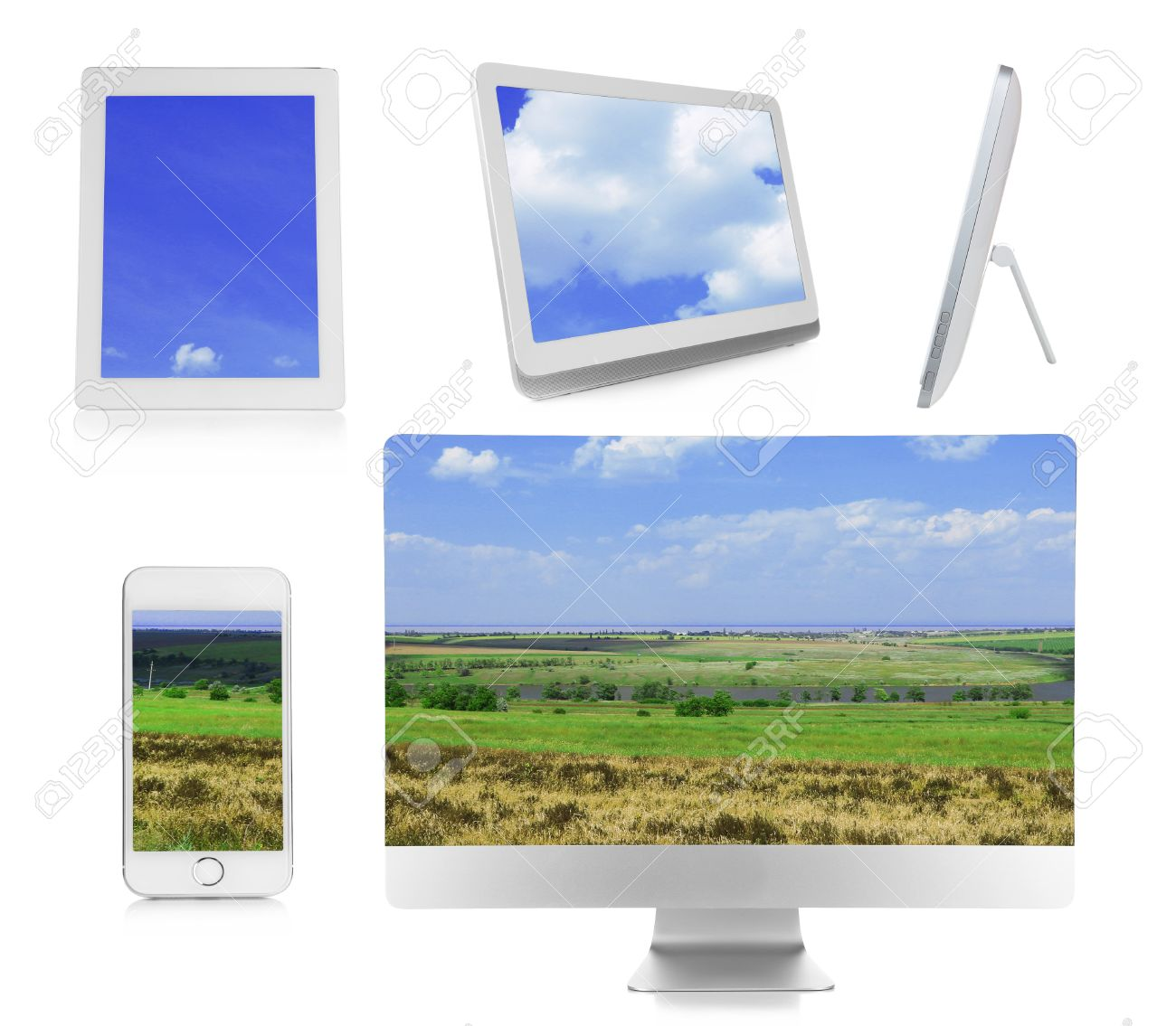 Monitor, laptop, tablets and phone with nature wallpaper on screens in collage isolated on