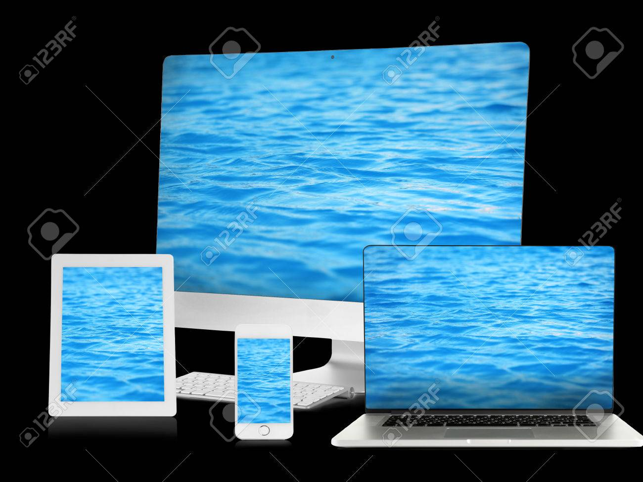 Monitor, laptop, tablet and phone with water wallpaper on screens in collage isolated on