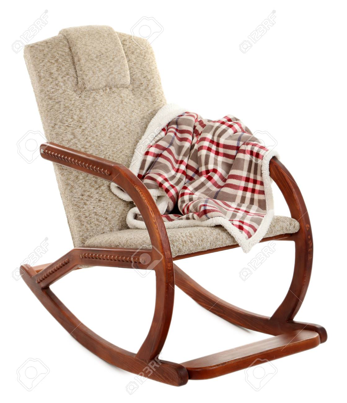 Astounding Modern Rocking Chair With Rug Isolated On White Bralicious Painted Fabric Chair Ideas Braliciousco