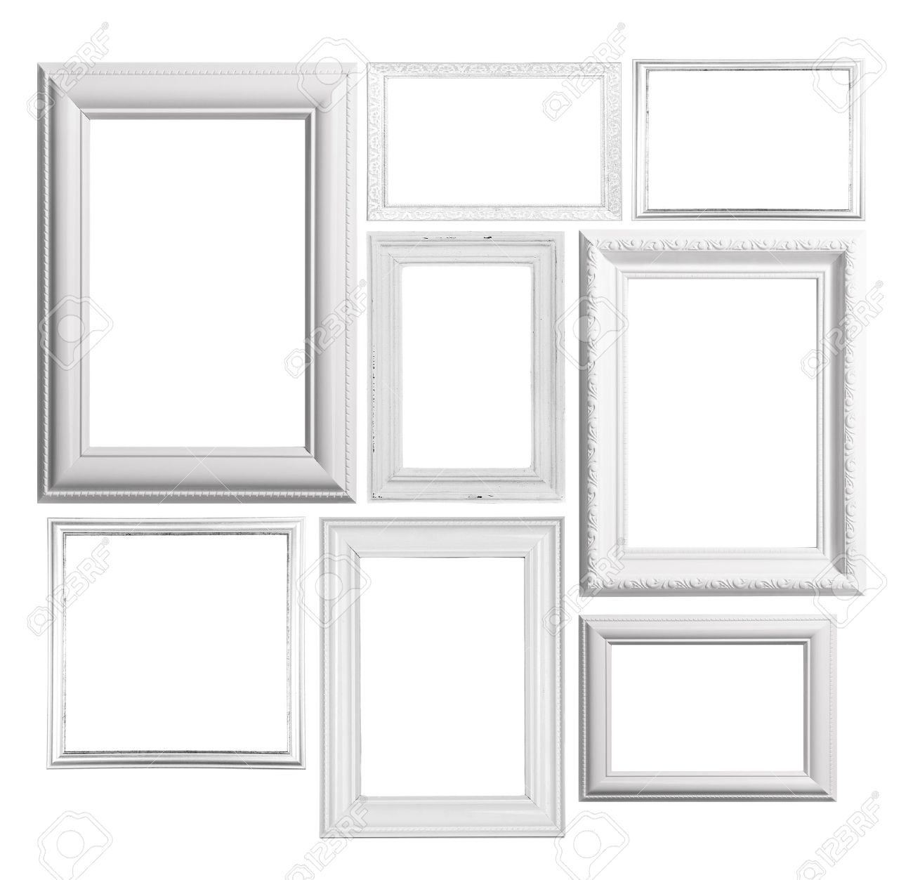 Collage Of Frames Isolated On White Stock Photo, Picture And Royalty ...