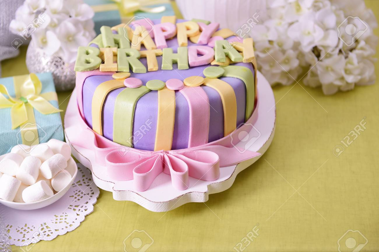 Delicious Birthday Cake On Table Close Up Stock Photo Picture And