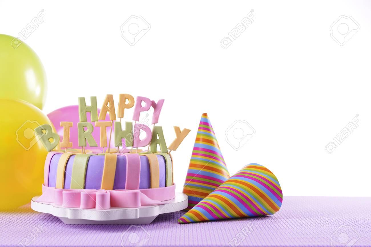 Delicious Birthday Cake On Table On White Background Stock Photo