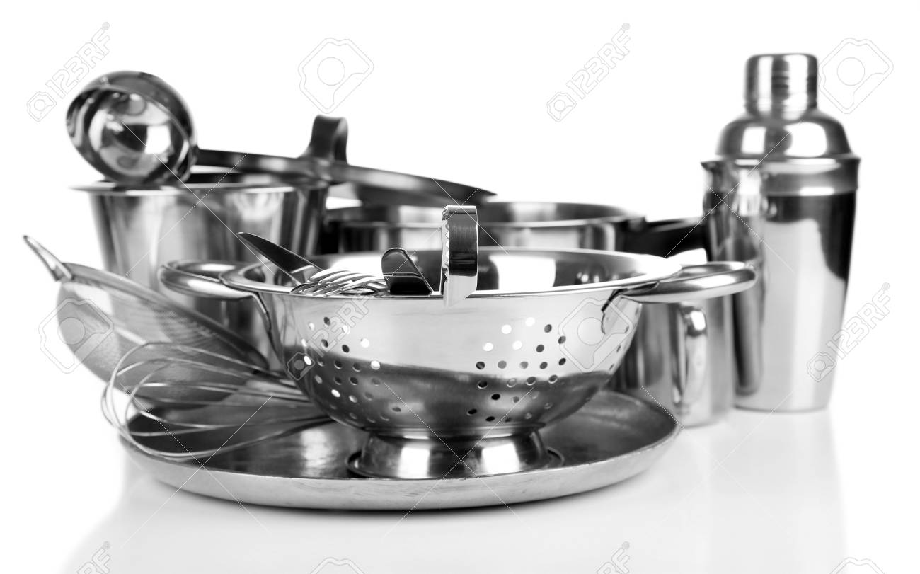 Stainless Steel Kitchenware On Table, Isolated On White Stock Photo ...