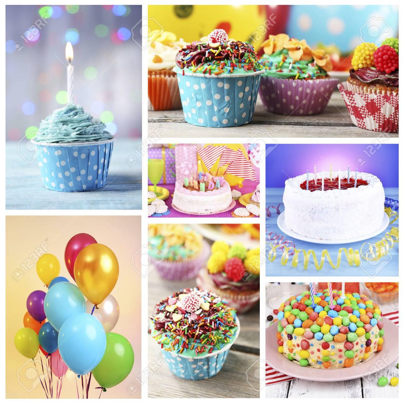 Happy Birthday Collage Stock Photo