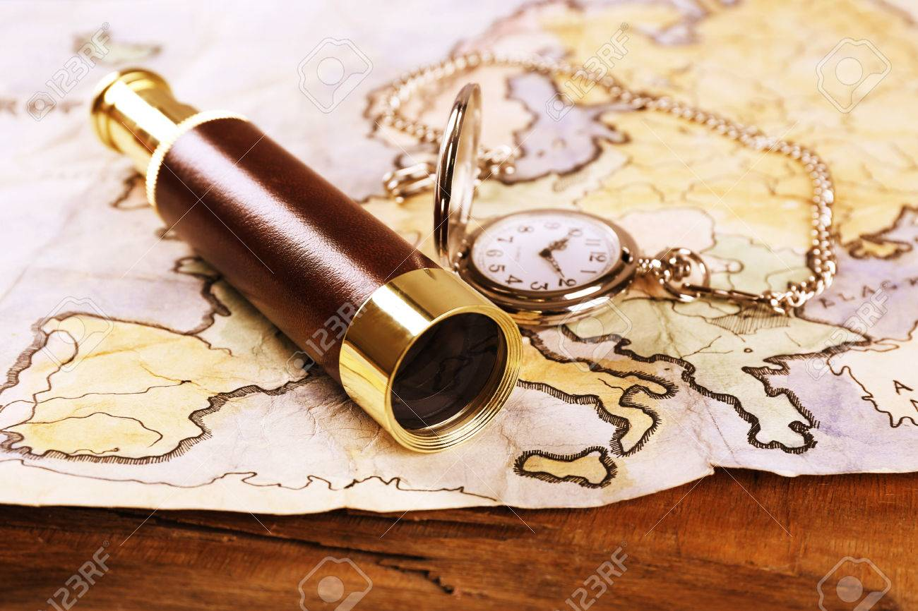 Spyglass pocket watch and world map on wooden table background spyglass pocket watch and world map on wooden table background stock photo 38277247 gumiabroncs Choice Image
