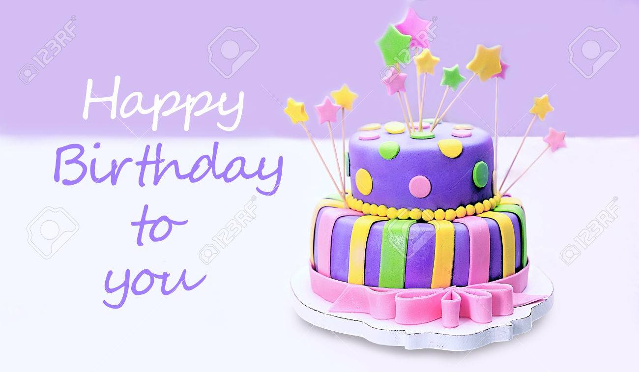 Delicious Birthday Cake On Table Stock Photo Picture And Royalty