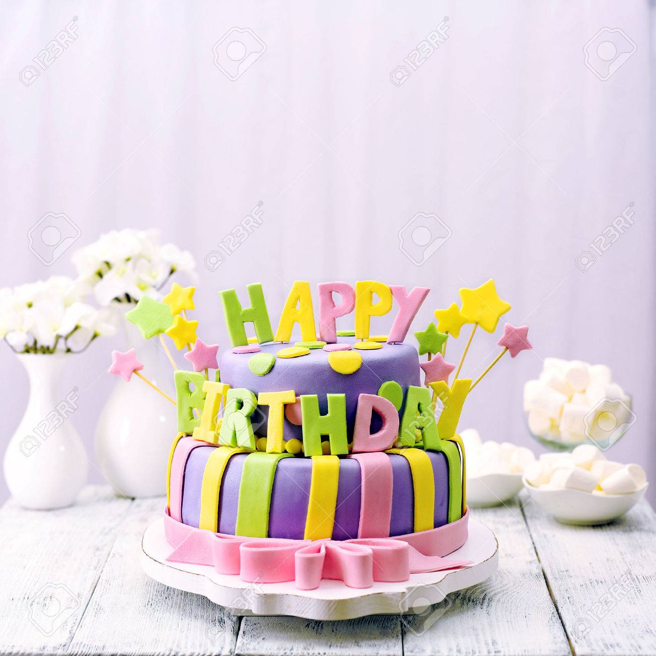 Groovy Delicious Birthday Cake On Table Stock Photo Picture And Royalty Funny Birthday Cards Online Overcheapnameinfo