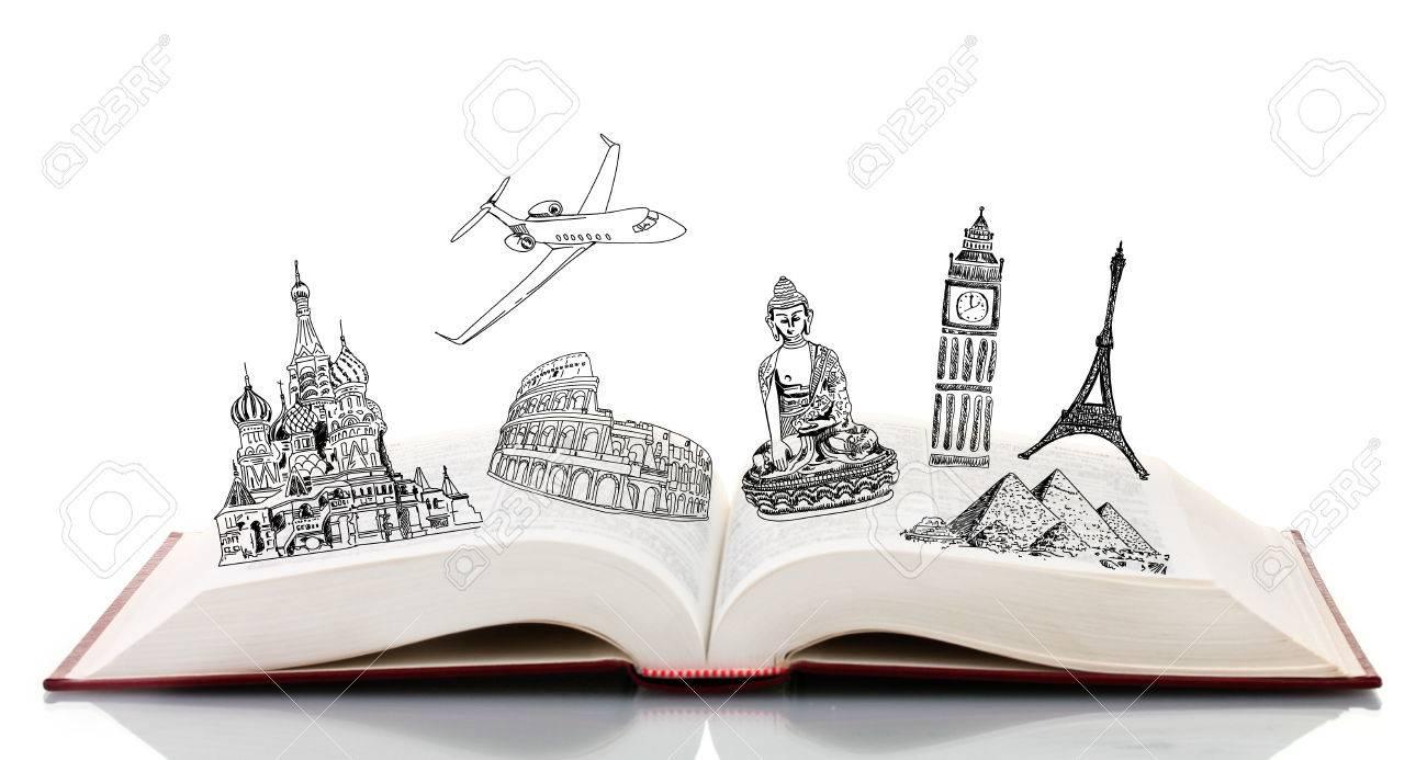 Offenes Buch Mit Zeichnungen Auf Weissem Isoliert Lizenzfreie Fotos