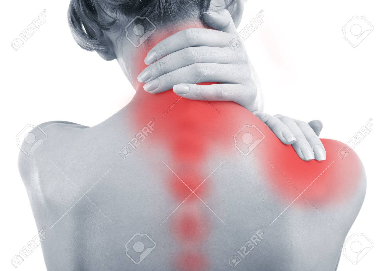 Stock Photo Young Woman With Neck And Shoulder Pain Close Up
