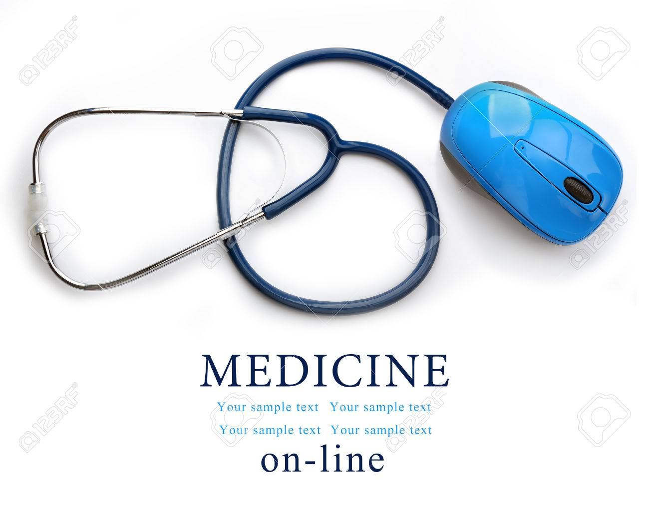 814e00e2dab Stethoscope with computer mouse isolated on white. Medical online concept  Stock Photo - 47550924