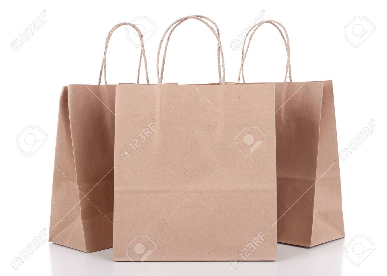 Paper shopping bags isolated on white - 50669185