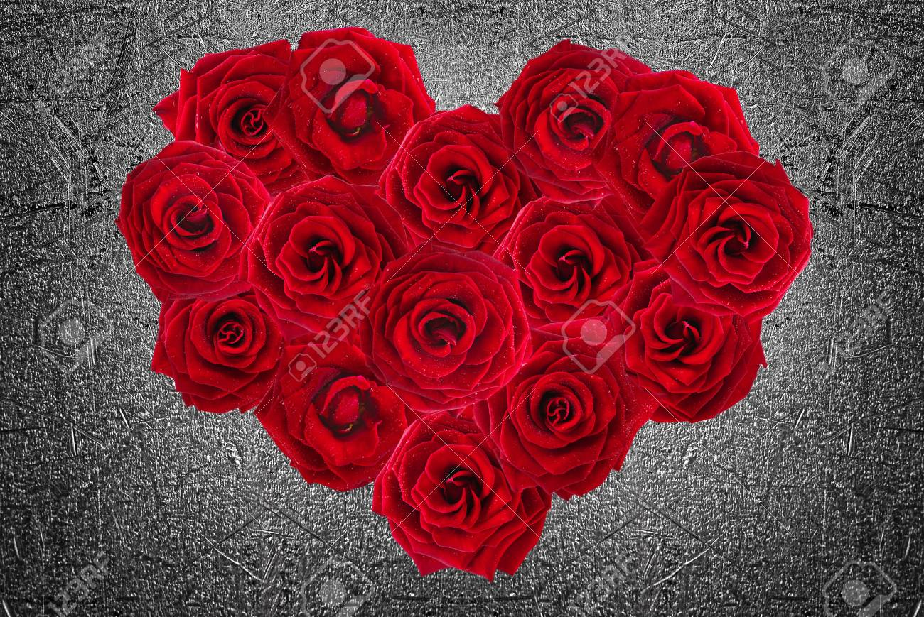 valentines day heart made of red roses stock photo picture and