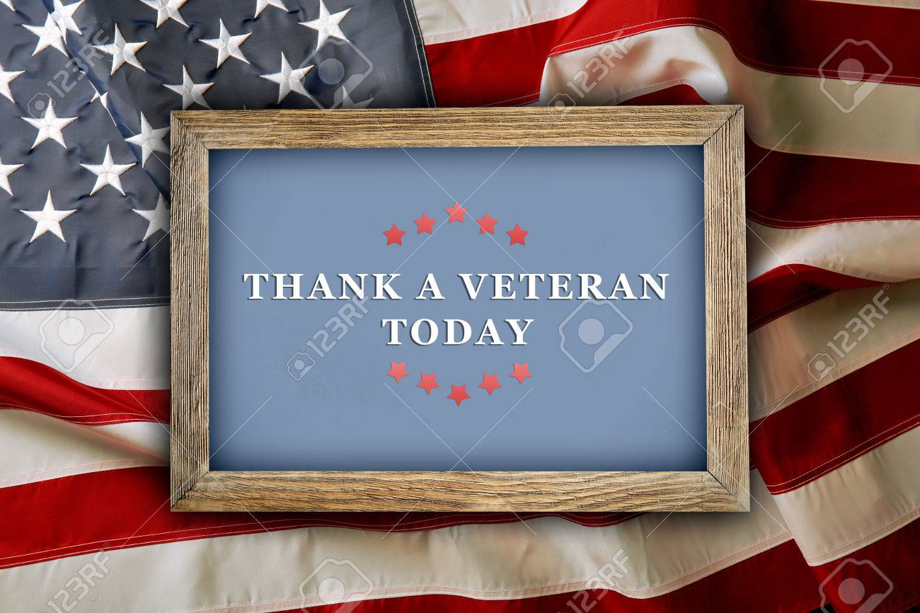 Completely new Text Thank A Veterans Today In Frame On American Flag Background  QY69