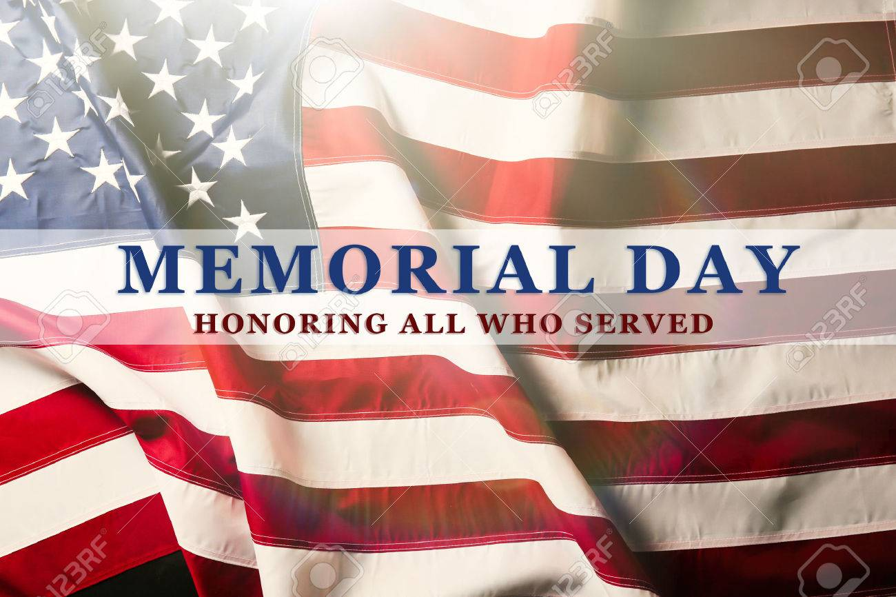 Text Memorial Day on American flag background Stock Photo - 52066575