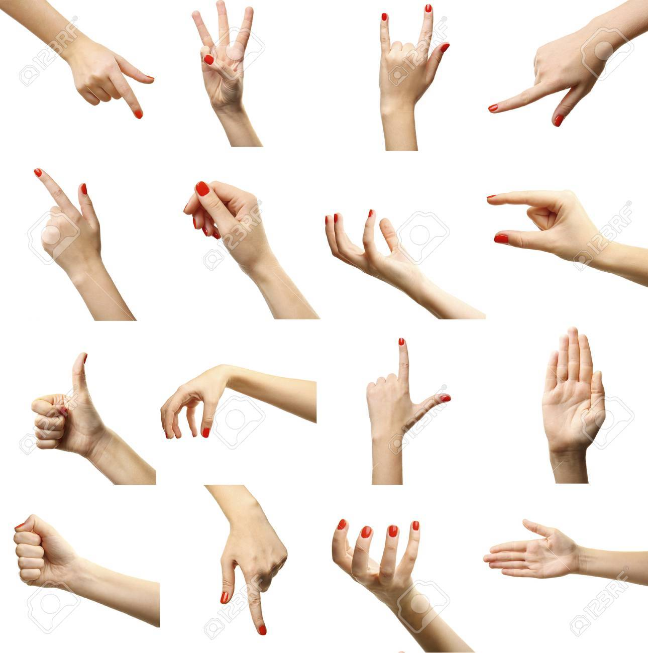 set of female hands gestures isolated on white stock photo picture