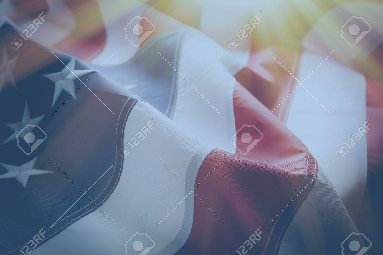 American flag background with sunlight - 52076644