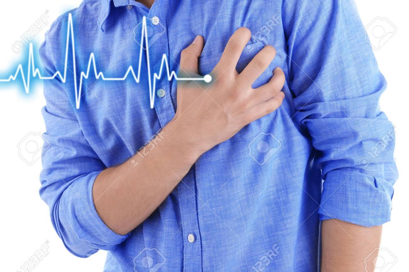 Man having chest pain - heart attack. - 52531438