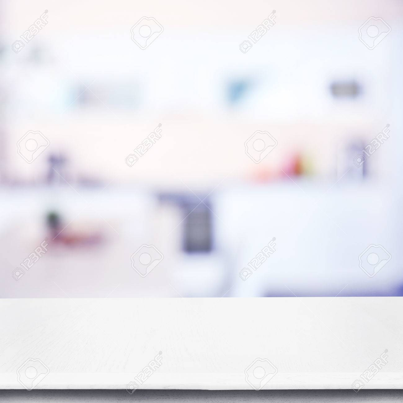 Empty wood table and blurred living room background stock photo - Empty Wooden Table And Blurred Kitchen Background Stock Photo 53818338