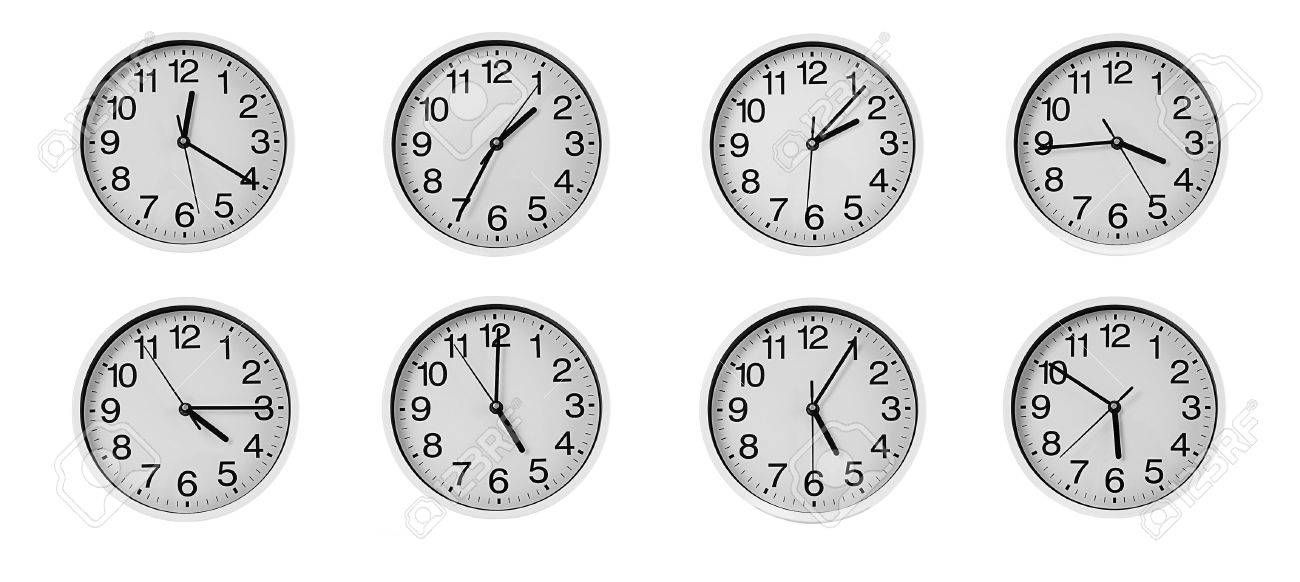Collage Of Round Wall Clocks Isolated On White Stock Photo Picture