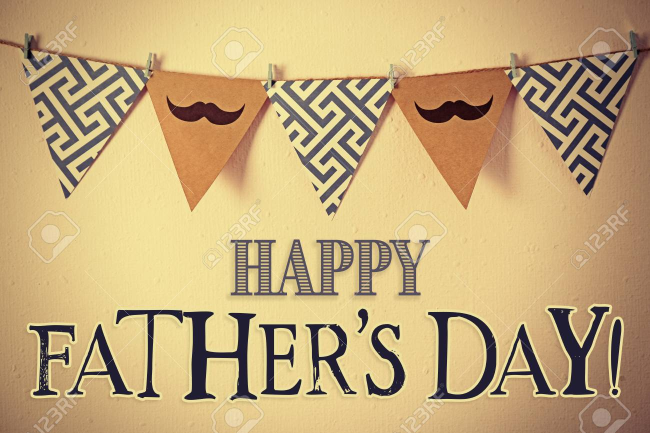 Happy Father\'s Day. Triangle Garland With Mustache And Pattern ...