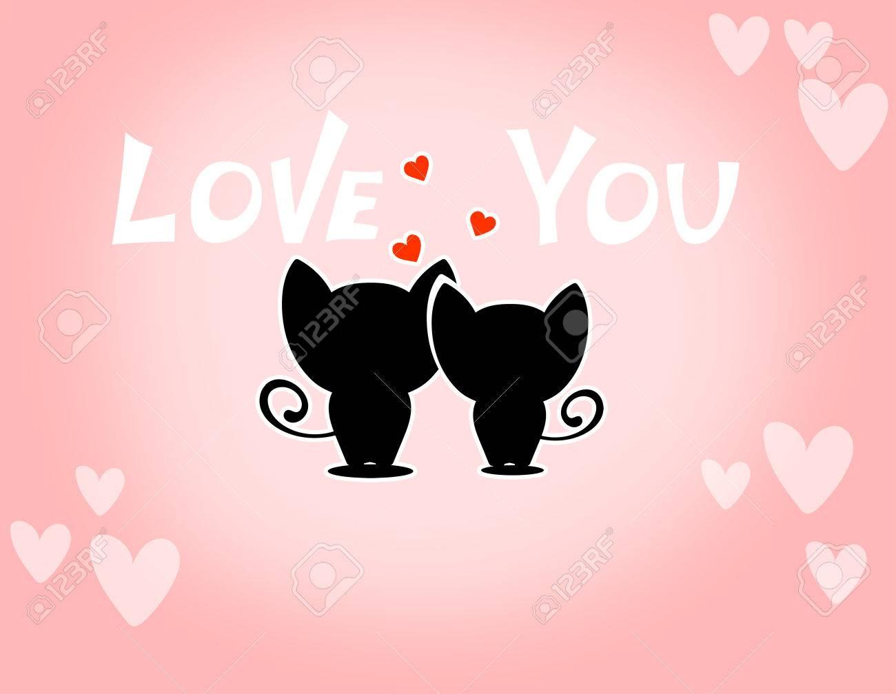 かわいい漫画の動物カップルは恋に落ちるベクトル イラスト の写真