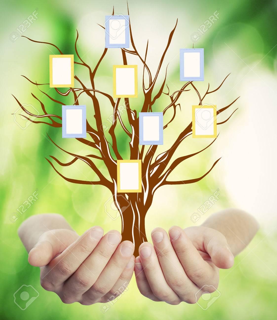 De Familia La Mano (genealogía) árbol Con Marcos En Blanco, En El ...