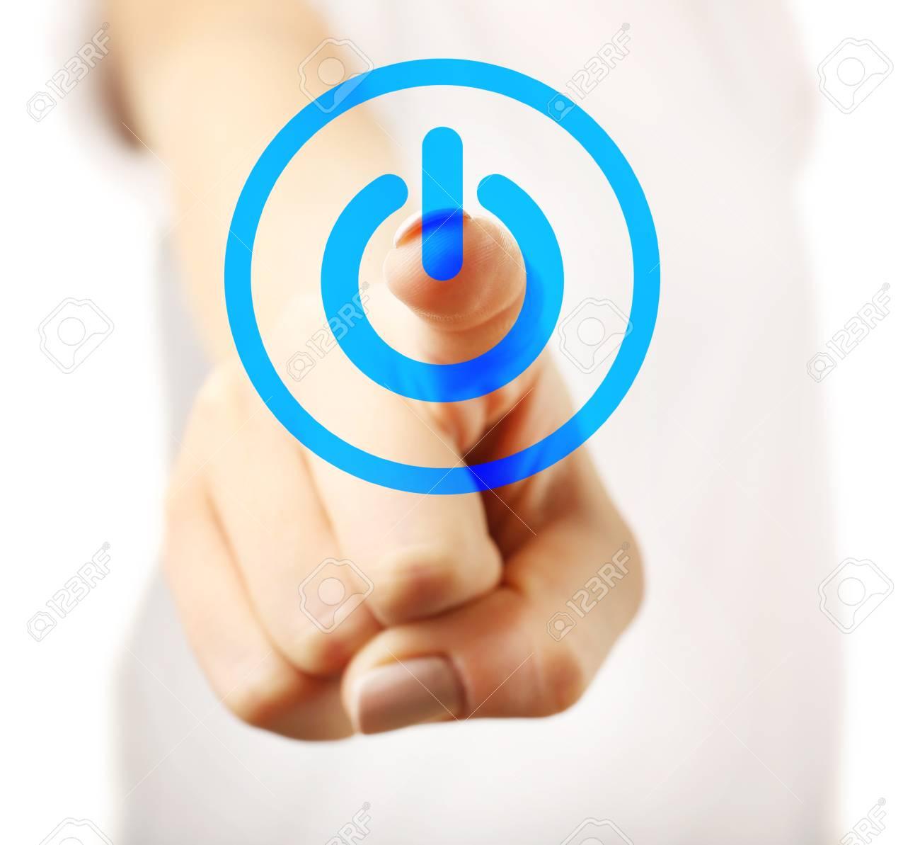 Finger press power button on virtual touch screen, modern technology