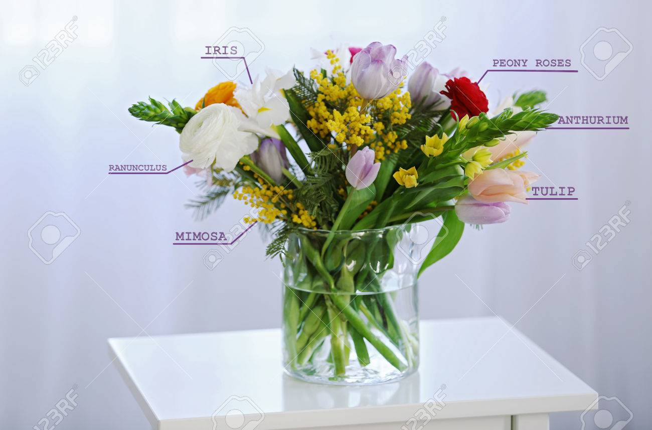 Beautiful Bouquet With Flowers Names Stock Photo Picture And